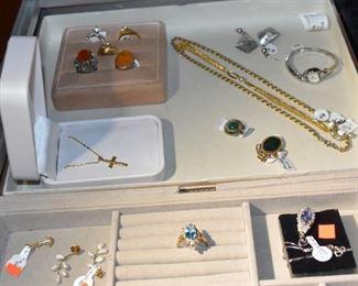 Rings, 14K Cross, Elgin Watch, Amber & Jade Rings, Earrings, Sterling Necklace with Stones,