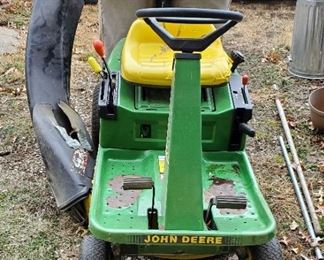"John Deere RX75 Gas Powered Riding Lawn Tractor With 42"" Deck And Bagger, Starts"