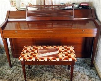 "Baldwin Grand Acrosonic Piano, With Walnut Finish, 36"" x 57.25"" x 25.25"", Includes Bench With Sheet Music,"