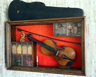 "Antonius Stradivarius Copy, 23"" Violin With Bow And Original Instrument Case, Framed In Shadow Box, 20.5"" x 32.5"""