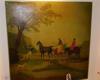 Unique HAND PAINTED Diminutive Card Table...that you can hang on the wall as a painting!