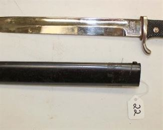 Lot 22: WWII German Army / Police dress bayonet by E. Pack and Sohne Solingen with scabbard