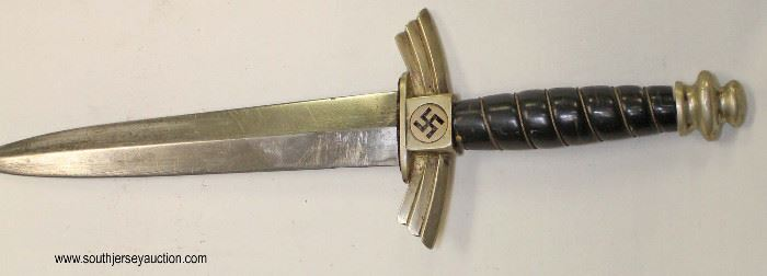 Lot 23: Model 1937 NSFK made by SMF Solingen dagger with scabbard with DLV stamping with riveted hanger