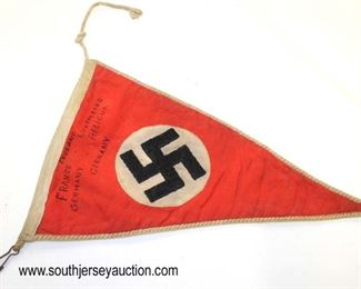 Lot 34: German party automobile car pennant with white trim edge inscribed England France Germany Luxumberg Beligum