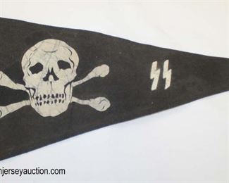 Lot 35: Skull and Crossbones pennant marked SS unknown