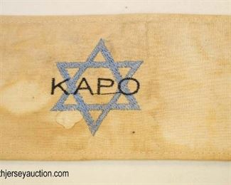 Lot 47: Holocaust style arm band with 6 sided star marked KAPO