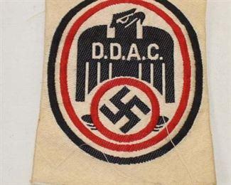 Lot 49: WWII German DDAC automobile club patch BEVO weave