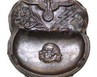 Lot 61: German ashtray in bronze finish marked SS Mountain Troop