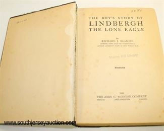 Lot 77: The Boys Story of Lindbergh the Lone Eagle by Richard J. Beamish first edition hard copy library book with some repair