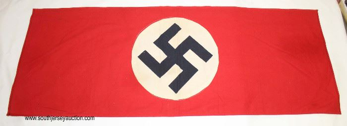 """Lot 80: WWII German 37""""x14"""" double sided long flag"""