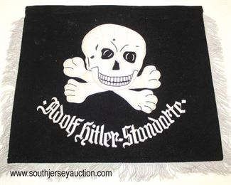 Lot 90: SS lightening bolts / Totenkoph double sided embroidered Adolph Hitler Standarte style bugle flag with photo