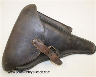 Lot 91: WWII German Leather Pistol Holster modified by GI