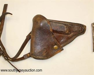 Lot 95: WWII Leather Gun Holster with magazine clip