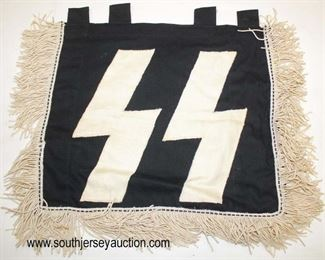 Lot 99: WWII SS and Division double sided three fringe trumpet banner