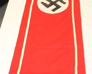 """Lot 100: WWII German 88"""" x 18"""" wall banner one sided fringe on end"""