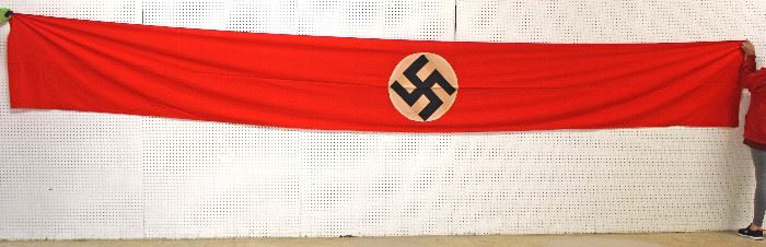 """Lot 108: NSDAP Window Banner Building Flag approximately 29""""x228"""""""