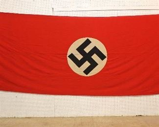 """Lot 112: Large German NSDAP Window Banner/House Flag approximately 192""""x60"""""""