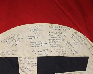 """Lot 116: German Large Fringed Wall or Podium Banner Signed by Members of 325 Engineer Bn. 100th Division June 1, 1945 with 4 Snap Hook Mounting approximately 53""""x50"""""""