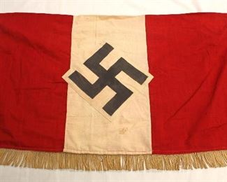 """Lot 118: German 3 Sided Fringed Double Sided Hitler Jugend Banner approximately 30""""x18"""""""
