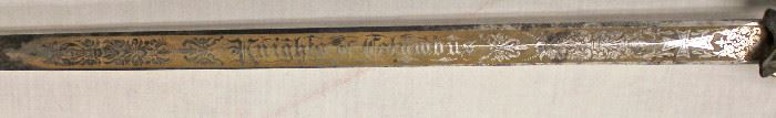 Lot 128: Knights of Columbus Society Sword with Scabbard made by Lynch