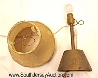 """Lot 132: Hitler Yacht Grille Brass Felt Bottom Lamp, Slip Shade, Newer Cord approximately 12"""" high 6"""" wide (believed to have been on one of Hitler's boats with news articles)"""