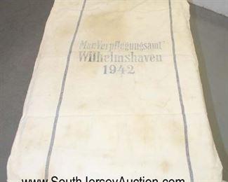 "Lot 133: German Naval Duffle Bag, Mar. Verpflegungsamt Wilhelmshaven 1942, light staining approximately 27""x41"""