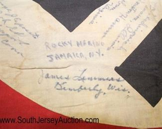 """Lot 136: WWII NSDAP Wall Banner signed by American POW's approximately 48""""x30"""""""
