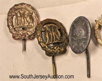 Lot 142: 6pc lot: German Stick Pins including Luftwaffe, 2 Sports, Wound Badge, Luftwaffe Pilot, and Combat