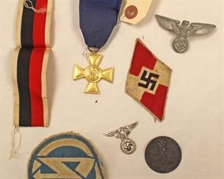Lot 143: 7pc lot: German Badges, Pins and Medals including 25 Year Long Service Army Medal, German Visor Cap Eagle, Day Badge 1937, Political Cap Badge, Badge Ribbon, SA Patch, Hitler Youth Patch