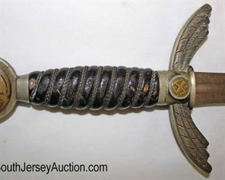 Lot 151: WWII German Officer's Sword in original found condition with original scabbard
