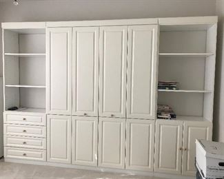 Murphy Bed with storage/bookcases on each side.  This is a Queen bed with a pristine mattress