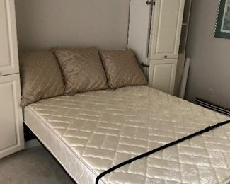 Murphy Bed in down position.  Pristine Queen mattress
