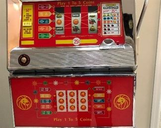 Bally 5 line Quarter Slot machine.   Includes stand - This items is available is pre sale purchase!  IT WORKS!!