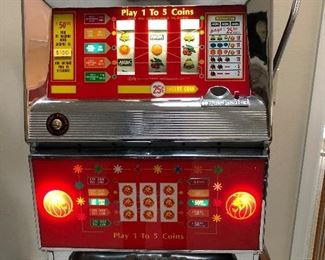 Slot machine with lights on