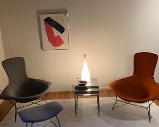 Knoll Bird Chairs and Hassock