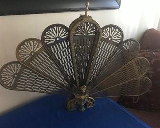 """""""Peacock"""" fireplace screen (brass)"""