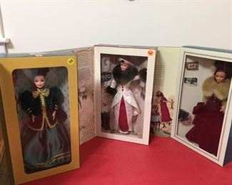 Hallmark Holiday Barbies: 1994 Victorian Elegance, 1995 Holiday Memories, 1996 Yuletide Romance