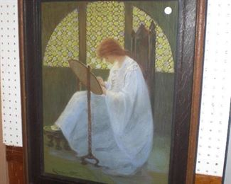 SIGNED PASTEL IN ARTS AND CRAFTS FRAME