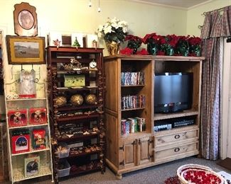 Great selection of DVD's... many of TV shows... Rustic/Pine Texan Entertainment Center