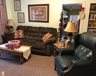 Double Reclining Sofa, Leather High Leg Recliner...
