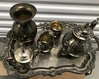 Lovely Silver Serving Set, with Tray, vintage