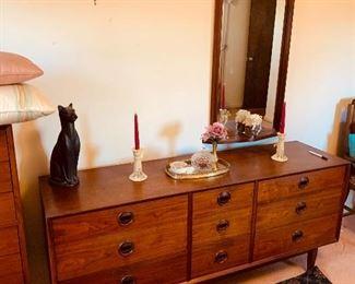MCM/Modernist Dresser & Mirror - oiled walnut