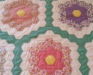 close up Grandmother's flower garden quilt