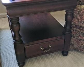 set of two end tables with bottom drawer