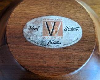 Vintage Vermillion solid walnut salad bowl set