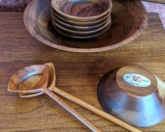 Vintage MCM Vermillion solid walnut salad bowl set