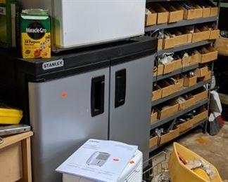Dehumidifer, storage cabinet and dorm size refrigerator