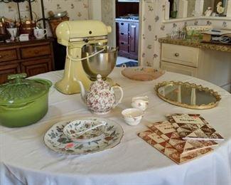 Kitchen items including bone china, enameled cast iron casserole and vintage KitchenAid mixer
