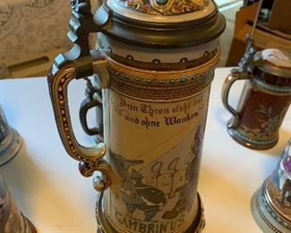 """Metlach #2107 stein with inlaid lid """"Gambrinus in His Kingdom"""", 2.25L"""