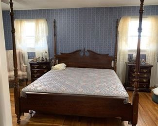 #7		Kincaid King Size 4 poster Bed w/Adjustable Hardware	 $175.00                                                                          #8		King Mattress/Boxsrings	 $75.00